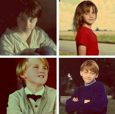So young… From bottom corner clockwise: Tom Felton, Daniel Radcliffe, Emma Watson, Rupert Grint