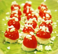 part of the woodland theme baby shower, mozz and tomatoes to look like woodland mushrooms!  Might work for a super mario bros. party too!