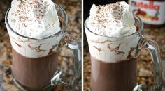 Beautify your morning with this delicious hot chocolate recipe with nutella and other nutella recipes Best Nutella Recipes, Best Hot Chocolate Recipes, Nutella Hot Chocolate, Nutella Brownies, Köstliche Desserts, Delicious Desserts, Yummy Food, Fudge, Smoothie Drinks