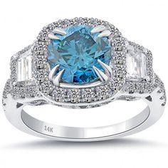 3.86 Carat Fancy Blue Diamond Engagement Ring 14k Gold Pave Halo Vintage Style - Thumbnail 1