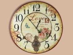 reloj de pared retro love