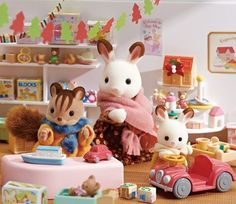 They came to a toy store looking for a Christmas present. Chocolate Rabbit Baby seemed to like a pink car. Walnut Squirrel Boy found a blue ship toy.