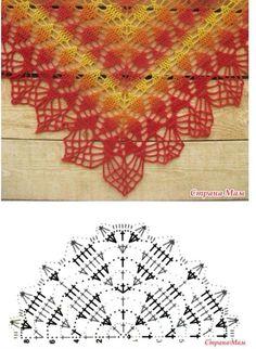 Crochet Poncho Lovely pattern for crochet scarf Poncho Crochet, Crochet Shawl Diagram, Crochet Shawls And Wraps, Crochet Motifs, Crochet Chart, Crochet Scarves, Diy Crochet, Crochet Stitches, Crochet Patterns