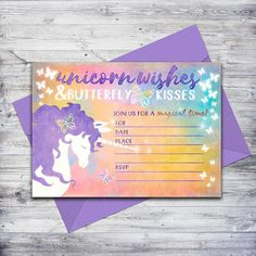 This easy, affordable unicorn invitation is perfect for any magical birthday!  Just download, print, and write in your party details  #unicornparty #unicornbirthday