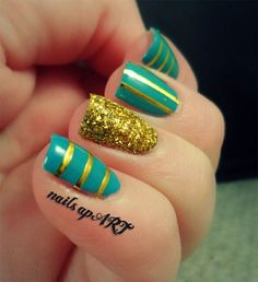 Teal and Gold Stripe Nail Art