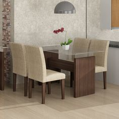 Conjunto de Mesa Evidence 1.2 com 4 Cadeiras Classic Suede Amassado Cappuccino