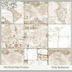 Old Word Map Overlays (Pu or CU) by Vicki Robinson at ScrapArtStudio.com