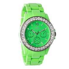 💚Oversized/BF 💚Neon green watch w bling💎 Shoe Dazzle, Neon Green, Yellow, Pink Stripes, Stripe Print, My Favorite Color, Jewelry Accessories, Bling, Jewels