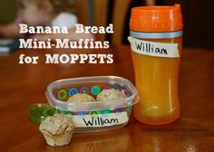 A MOPPETS snack idea - Whole Wheat Banana Bread Mini-Muffins.