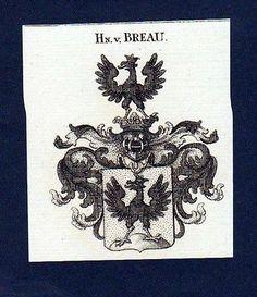 1780 - Herren von Breau Original Kupferstich Wappen