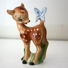 Vintage 1950s Bambi Deer Ceramic Figurine With Butterfly by twojs, $15.00