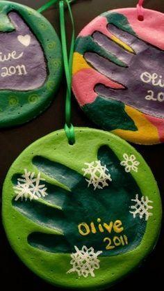DIY Salt Dough Handprint Ornaments, I love the paint on these!