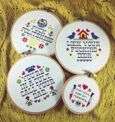 My Favorite Murder embroidered hoops. Stay sexy, don't get murdered!