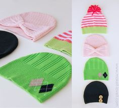 Hats from old jumpers (I'm going to try some double sided ones from the T-shirts my girls' grown out of too)