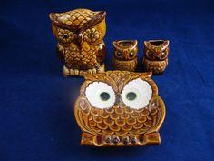 Vintage 1960's Brown Ceramic Owl Kitchen Set