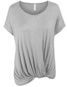 KOGMO Womens Solid Basic Boatneck Dolman Top with Knot on...