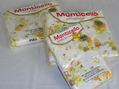 Set NOS Vtg Cannon Full Sheets Flat Fitted and 2 Pillowcases Orange Gold Floral