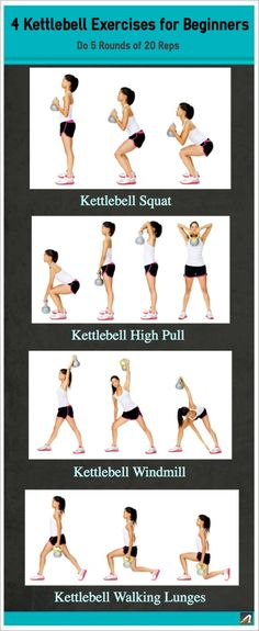 Squat, lunge, and twist your way to a stronger you. These four common kettlebell moves will help tone your legs and glutes while building core and upper-body strength. Grab a comfortable kettlebell weight and try these moves. | Health.com