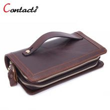 04b7da494e94 CONTACT S big long Genuine Leather wallet men coin purse male Clutch Bag  Handy phone travel credit card holder Zip wristlet bag   Price   US  58.70    FREE ...