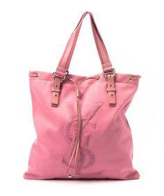 Pink logo tote bag by Yves Saint Laurent on secretsales.com