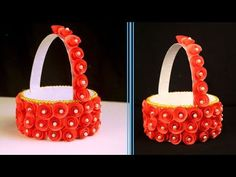Super easy and cute Paper flower basket craft ideas/Paper flower making/Easy Diwali decoration ideas - Watch Video - Diy And Crafts Recycled Crafts, Diy And Crafts, Paper Crafts, How To Make Paper Flowers, How To Make Wreaths, Diwali Decorations, Flower Decorations, Home Design, Diy For Kids