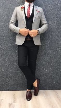 Collection: Spring – Summer 2019 Product: Slim-Fit Suit Color Code: Gray – Black Combination Size: Suit Material: 70 viscose, 30 polyester Machine Washable: No Fitting: Slim-fit Package Include: Jacket, Vest, Pants Only Gifts: Shirt, Chain and Neck Tie Mens Casual Suits, Dress Suits For Men, Classy Suits, Stylish Mens Outfits, Cool Suits, Best Mens Suits, Mens Suits Style, Blazers For Men Casual, Suit And Tie