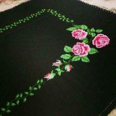 This Pin was discovered by vus Flower Embroidery Designs, Prayer Rug, Cross Stitch, Flowers, Cross Stitch Embroidery, Towels, Stuff Stuff, Hardanger, Gems