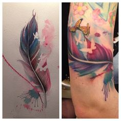 feather and butterfly water color