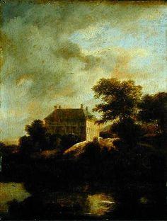 Paysage avec Country House de Jacob Isaakszoon Van Ruisdael (Ruysdael) (1628-1682, Netherlands)
