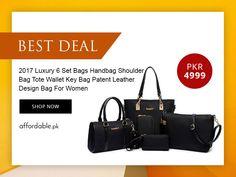 2018 Luxury 6 Set Bags Handbags Shoulder Bag Tote Wallet Key Bag Patent Leather Design Bag For Women.