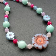 Spring Colours Necklace With Semi Precious Gemstones Sterling Silver £17.50