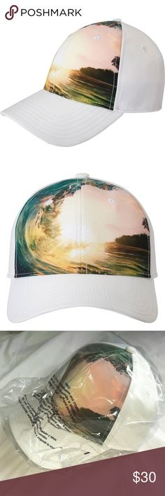 0e977c96 Gents White Polyester Blend 'Wave' Baseball Cap A photorealistic wave print  brings a touch