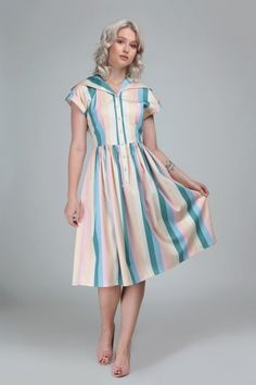 Judy Teacup Stripe Swing Dress Collectif Mainline Clothes Dresses @ Collectif and Vintage Style Clothing and Rockabilly Collection Color Stripes, Stripes Design, Dress Outfits, Fashion Outfits, Dapper Day, Striped Shirt Dress, 1940s Dresses, Swing Skirt, Skirts With Pockets