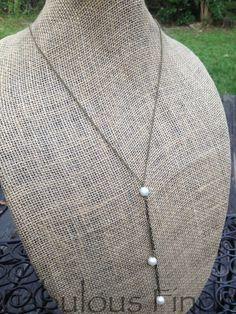Antique Gold Bronze Triple Pearl Drop Long by loveFabulousFinds