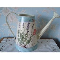 .Decorative Chic Lavender Flower Metal Watering Can.