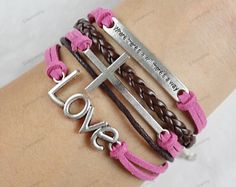 "womens  Bracelets-love leather bracelets ""where is a will there is a way"" bracelets pink rope-best gifts for girls  N114"