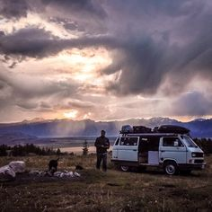 Arrived at our camp spot at sunset. Couldn't have asked for a more beautiful way to send off the sun. Photo taken in late July, 2014 at Curtis Canyon, Wyoming #vwvan #vwbus #volks #adventuremobile...