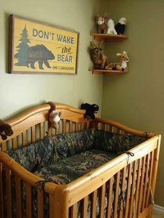 Camo/Outdoors Baby Room. #camo #crib #outdoors #country
