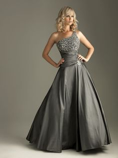 Charcoal Beaded A Line Party Evening Prom Pageant Dress Ballgown SZ 6 8 10 12 14 | eBay