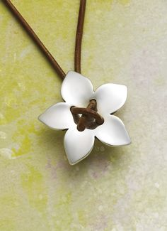 Flower on Leather Necklace #jamesavery