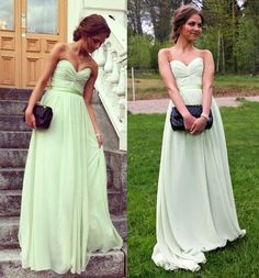 Sweetheart Mint Prom Dress with Ruched Detail, Chiffon Floor Length Prom Dress, Simple Prom Dresses,Cute prom dress