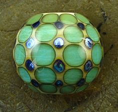 Handmade Lampwork Glass Focal Bead Blue & by PowersArtStudio, $23.00