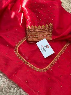 Pattu Saree Blouse Designs, Simple Blouse Designs, Silk Saree Blouse Designs, Blouse Neck Designs, Mirror Work Blouse Design, Maggam Work Designs, Red Blouses, Princess Cut Blouse Design, Embroidery Blouses