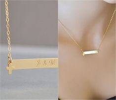NAMEPLATE BAR NECKLACE, Gold Bar Necklace, Rose Gold or Sterling Silver Personalized Bar, Bar Monogram, Family Necklace