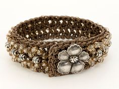 Crochet Cuff Bracelet, Honey-Colored Beads, Metal Beads and Button, Boho Chic Crochet Bracelet, Thread Crochet, Beaded Bracelet.