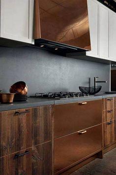 copper and black slate backsplash