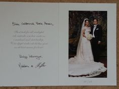 Thank you card from Princess Madeleine of Sweden and her husband Chris O'Neill.
