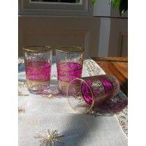 Set of six pink and gold tea glasses
