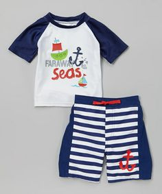 Another great find on #zulily! Navy Stripe Rashguard & Swim Trunks - Infant & Toddler #zulilyfinds