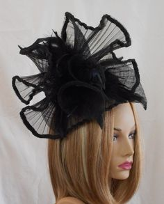 Rayna fascinator Kentucky Derby hat color black by LuminataCo